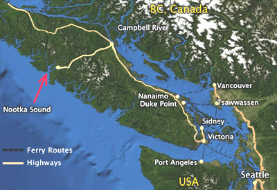 Map of Nootka Sound and surrounding area showing routes from BC and the US